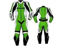 Kawasaki green and black Motorbike Leather Racing Suit, CE Approved Armour