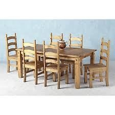 Mexican Pine 6 seat table and chairs