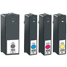 4 CHIPPED INK CARTRIDGES FOR LEXMARK 100XL Impact S305 Interpret S405 PRINTER