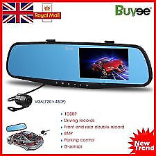 """HD 1080P In-Car Rear View Mirror 4.3"""" Monitor Dash Cam Recorder Camera Dual front and back"""