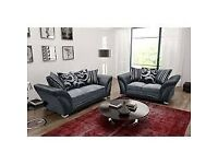 🔴DISCOUNT SALE PRICE🔵SHANNON SOFA FABRIC And FAUX LEATHER LEFT OR RIGHT CORNER - 3+2 SEATER