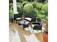 Rattan Effect 4 Seater Garden Patio Furniture Set - Black