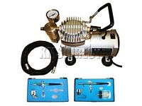 Foxhunter Airbrush Compressor AS18 Plus two airbrushes