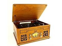 Itek IT142 Light Wood Nostalgic Music System, Record/CD/Casette Player and Radio