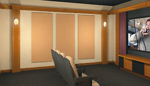 ACOUSTIC PANELS,  ROOM TUNING, HOME THEATER WALL PADDING FABRIC