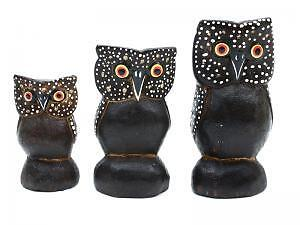 WOODEN CARVED ANIMALS OWL.FAMILY OF 3 FIGURINES ORNAMENT OWLS.COLLECTABLE.GIFT