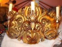 STUNNING 3 ARM ANTIQUE WALL SCONCE