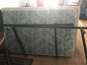 Single bed with mattress and metal bed frame