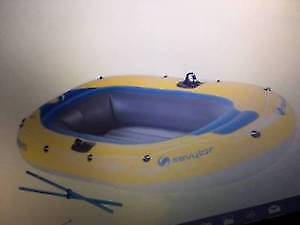 Raft -Sevylor Yellow/Blue Caravelle Raft with Oars