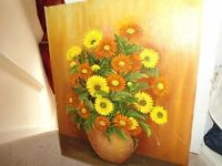 ANTIQUE OIL PAINTING BY VIVIENNE RUSSELL ON WOOD. CAN POST