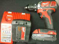 Milwaukee M18 drill with spare battery