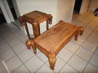 Tables authentiques fait à la main avec pattes d'éléphant