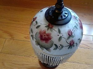 Antique Tiffany-Style Hand Painted Glass Lamp *OBO*