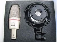 AKG C3000B condenser studio microphone bundle (shock mount and popkiller K&M)