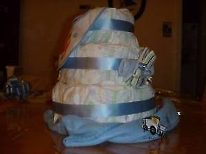 """1 of the Baby Shower Gifts I Make & Sell is the """"Diaper Cake"""""""