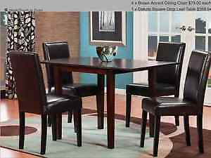5 piece Dining room set brown faux leather