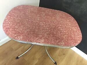 Vintage Pink Cracked Ice Table