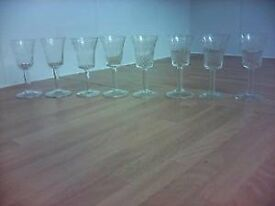 8 Cut Glass Port Glasses