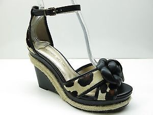 Antonio Melani black leather ankle strap wedge