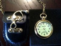 Brand New Pocket Watch with chain and leather case