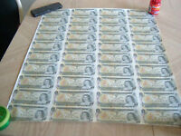 SHEET OF CANADIAN $1.00 bills ONLY 250$ CASH....................