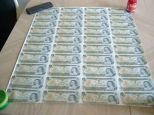 SHEET OF CANADIAN $1.00 bills ONLY 225$ CASH....................