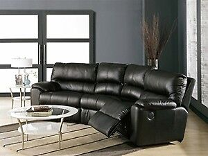 Leather reclining sectional couch / Canapé composable inclinable