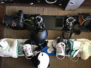 2 snow boards & boots & goggles