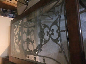 Beautiful large glass and rode iron diningroom table