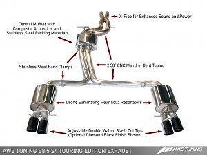 AWE Tuning Audi S4 3.0T Touring Edition Exhaust - Black Tips