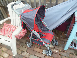 AVALON BABY STROLLER GREY / red quad