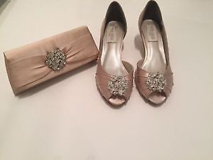 Beautiful Bridal shoes by Ellie Wren with matching clutch - Pink