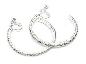 Silver Hoop Clip On Earrings