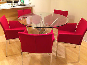 Round Glass & chrome dining table with 4 chairs Cambridge Kitchener Area image 1