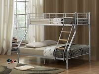 A Single Double Alaska Triple MEtal BunkBed Frame with Original Deep Quilted Mattresses