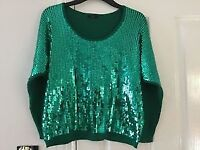 Ladies M&Co green jumper top with sequins 3/4 length sleeves size S