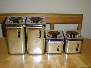 4 piece  Chrome Canister  set from the 50's [Mint Condition