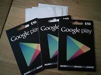 3 Google play gift cards