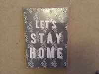Next Hessain style wall hanging picture 'Lets Stay Home' with floral design Brand new