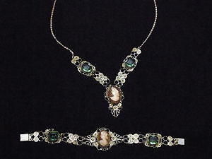 ANTIQUE VICTORIAN SILVER FILIGREE NECKLACE AND BRACELET
