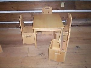 Childrens Square Table And 4 Chairs With Storage In The Seats