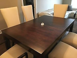 HARD WOOD DINING TABLE + 6 CHAIRS