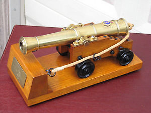 awesome heavy solid polished brass cannon mint condition!!!!!!!!