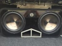 """INSIGNIA DUAL 12"""" SUBWOOFER AND AMP"""
