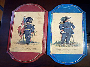 Two antique vintage wooden prints displaying Italian soldiers