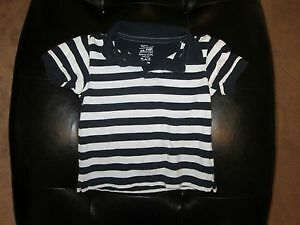 Boys White and Navy Blue Striped Polo Size 18m
