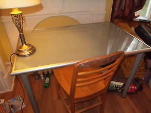Transluscent glass dining table, seats 6