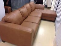 GORGEOUS BROWN LEATHER SECTIONAL & CHAIR