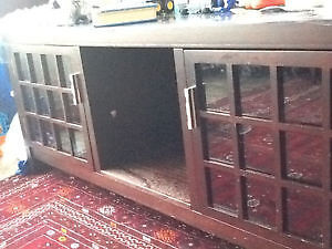 chocolate brown coffee table with shelves /storage