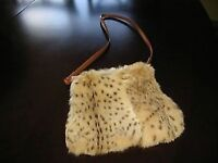 Beautiful Fur Purse/ Hand Warmer with Leather Handle For Sale!